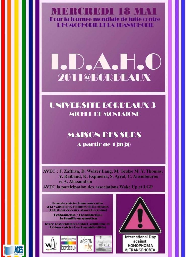 Affiche des conférences IDAHO 2011 à Bordeaux